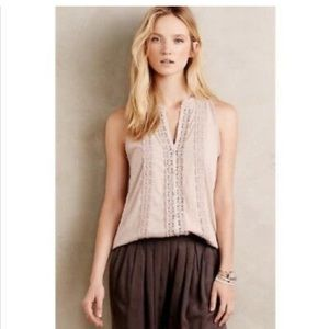Anthropologie Meadow Rue Jenson rose lace top